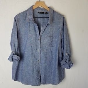 DKNY Chambray Button Down Shirt Blue Large